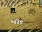 Piccolo viaggio (olio e collage su tavola cm.50x60)