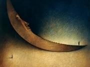 La morte e' la curva della strada (La luna dei poeti)- Portogallo(olio su tavola  cm.90x100)1992
