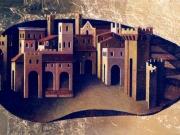 Stagione-La citta' itrovata (olio e foglia d'oro su tavola cm.40x80)