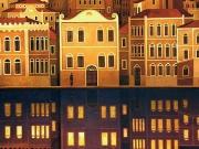 La Citta' che ama la Notte (olio su tela cm.80x70)