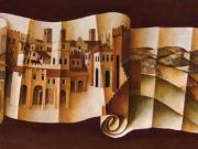 Il Grande Cartiglio (olio e polvere di marmo su tela cm.70x200)
