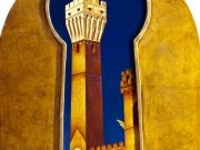 Segreto (semilunetta- olio,collage legno e foglia d'oro su tavola di betulla cm 65x54,8)