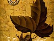 La Nave del Vagabondo (olio,tempere,foglia d'oro,sabbia,collage e legno policromo su tavola cm 80x60 )