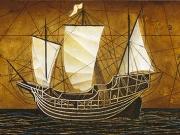 La nave dei desideri (bitume,olio,tempere,collage e foglia d'oro su tavola cm 40x120)
