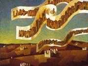 Le citta' del vento (olio tavola cm.45x50)