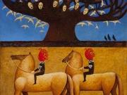 Due uomini neri (olio,tempere,bitume e oro su tavola cm 50x40)