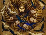 La Regina (olio,collagee oro su foglia d'oro su tavola cm.60x50)