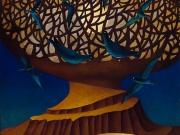 La strada dell'Albero del Mondo(olio,tempera,collage,foglia d'oro su tela cm.70x60)