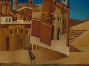 Voltare pagina (olio e tempera su sabbia e polvere di marmo su tela cm.40x50)