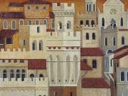 La Città ritrovata (tempere, olio e sabbia su tavola, cm. 35x40)