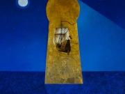 In fondo al cielo (olio e foglia d'oro su tela, cm. 90x100)