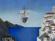 Nave di poeti (olio su tav., cm.60x80)