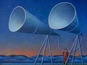 L'ascoltatore del cielo (tempere e olio su tavola cm.35x40)