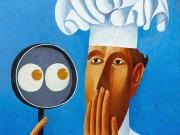 Lo chef (tempere e olio su tavola cmm.30x20)