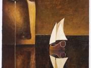 L'Isola dell'Amore (bitume,olio e oro su carta cm.50x40)