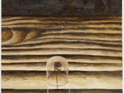 La rosa del deserto (bitume,olio e tempera su carta cm.50x40)