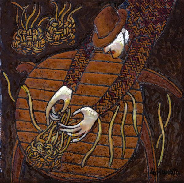 Il cestaio cieco (cuerda seca-smalti ceramici; cm.15x15)
