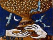 Il sentiero dell'albero (cuerda seca-smalti ceramici, oro; cm.15x15)