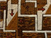 Vie d'uscita (cuerda seca-smalti ceramici; cm.15x15)