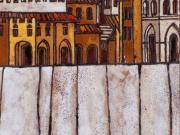 La Citta' svelata (cuerda seca-smalti ceramici; cm.20x20)