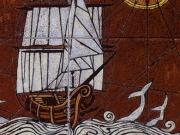 Storie di mare (cuerda seca-smalti ceramici; assemblaggio cm.30x30)