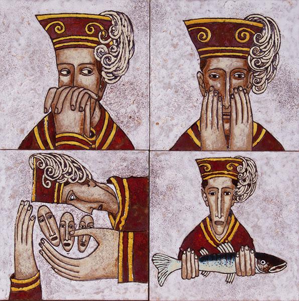 Quattro volti di Pietro (cuerda seca-smalti ceramici, assemblaggio cm.40x40)
