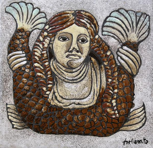 Sirena (cuerda seca-smalti ceramici, cm.20x20)
