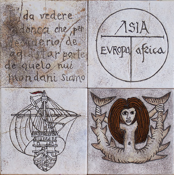 Storia antica (cuerda seca-smalti ceramici, assemblaggio cm.30x30)