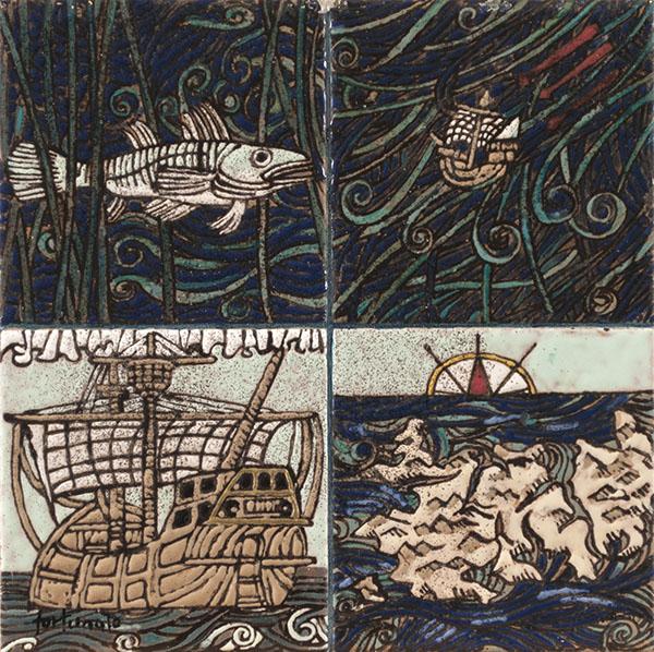 Storia della Querina (cuerda seca-smalti ceramici, assemblaggio cm. 20x20)