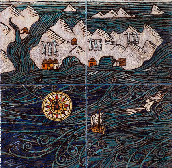 Storia della Querina (cuerda seca-smalti ceramici, assemblaggio cm. 30x30)