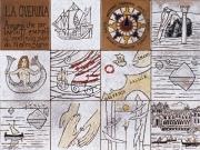 La Storia della Querina (cuerda-seca,smalti ceramici ,assemblaggio cm.30x40)
