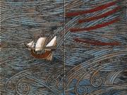 La Tempesta (cuerda seca, smalti ceramici, assemblaggio cm.30x30)