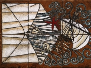 La lettera dall'Oceano (cuerda seca, smalti ceramici, assemblaggio cm.20x30)