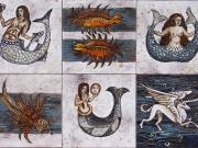Mostri e sirene (cuerda seca-smalti ceramici, assemblaggio cm.40x60)