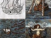 Storia di mare (cuerda seca, smalti ceramici, assemblaggio cm.30x30)