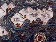 Verso il Nord (cuerda seca-smalti ceramici, assemblaggio cm.30x30)