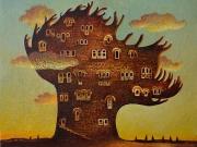 La citta' di Acchiappacitrulli (olio su tela cm.30x30)