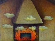 Ma il fuoco dipinto (olio su tela cm.30x30)2004