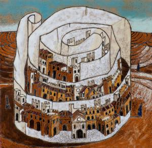 Cartiglio (cuerda seca-smalti ceramici cm 20x20)