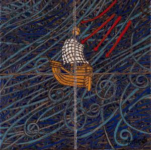 La Querina (cuerda seca-smalti ceramici,assemblaggio cm.20x20)