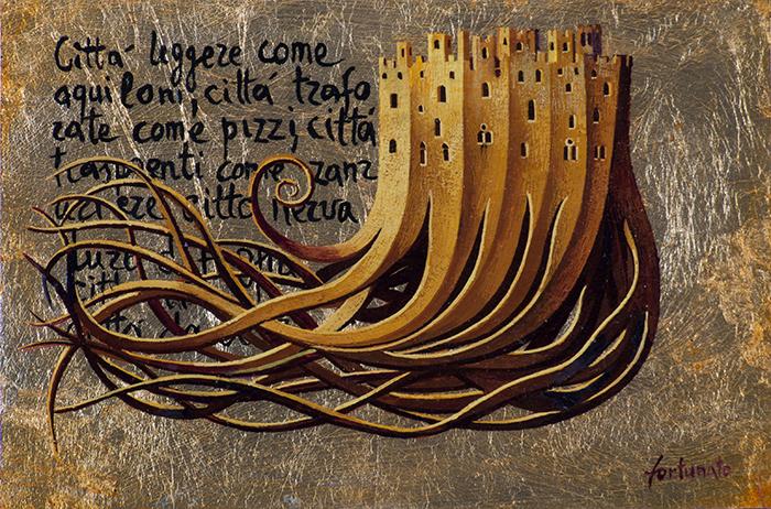 Le Città del cielo (tempere e olio su foglia d'oro su tavola cm.20x30)