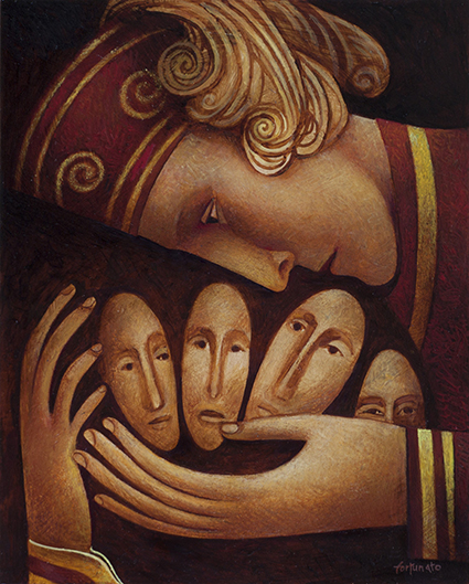 L'abbraccio (olio su tavola, cm. 50x 40)