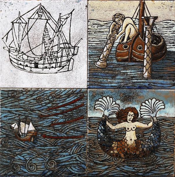 Storia-di-mare-cuerda-seca-smalti-ceramici-assemblaggio-cm.30x30
